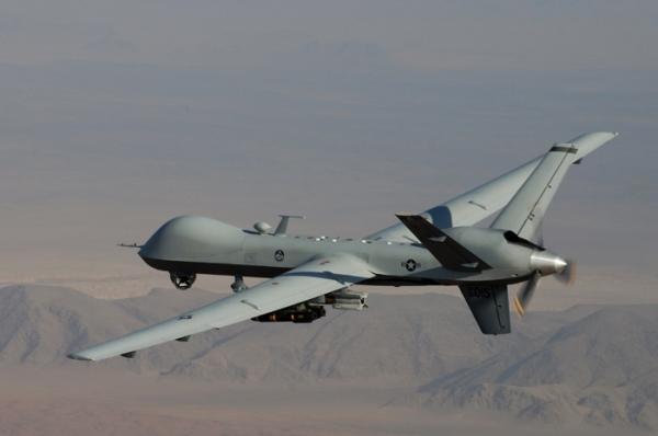 En MQ-9 Reaper-drone på vingene.Stokk dum. Og dødelig.  Photo: Lt. Col. Leslie Pratt, US Air Force