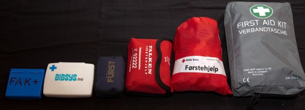 I try to keep a first aid kit in all my frequently used bags and packs. From left: The Flat FAK, another rather flat FAK, my medium FAK, my largish sports and outdoors FAK, car FAK.