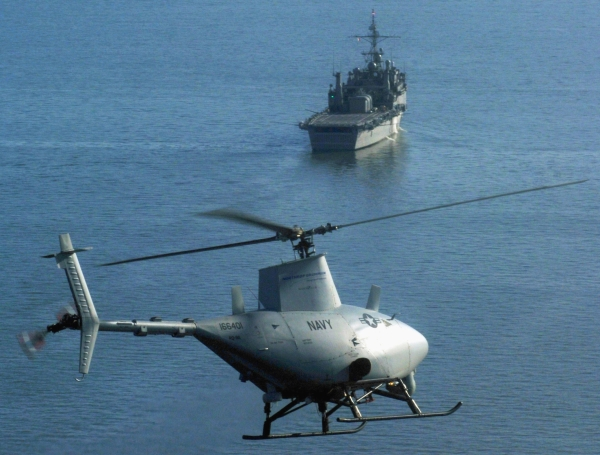 An autonomous RQ-A Firestorm helicopter landing on an aircraft carrier. Photo: US Navy.